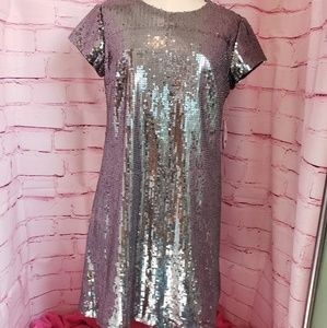 NICOLE MILLER silver sequined dress * size 8